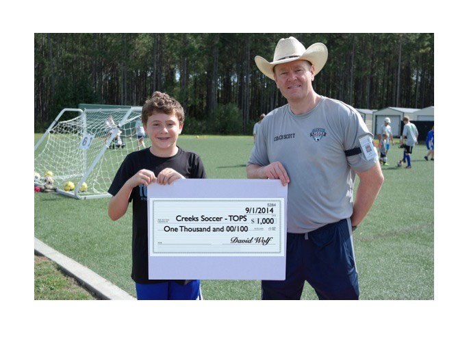 Check Presented to Creeks Soccer