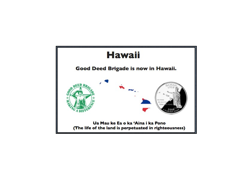 Good Deed Brigade State Postcard - Hawaii