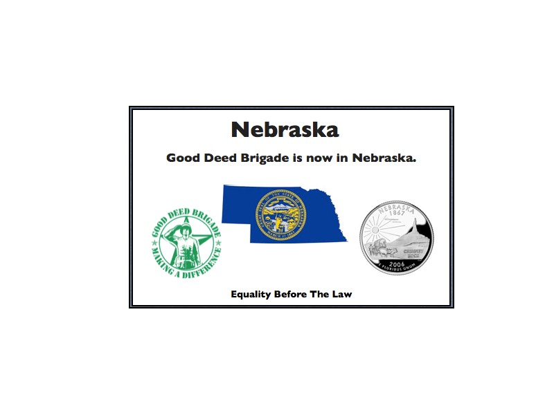 Good Deed Brigade State Postcard - Nebraska