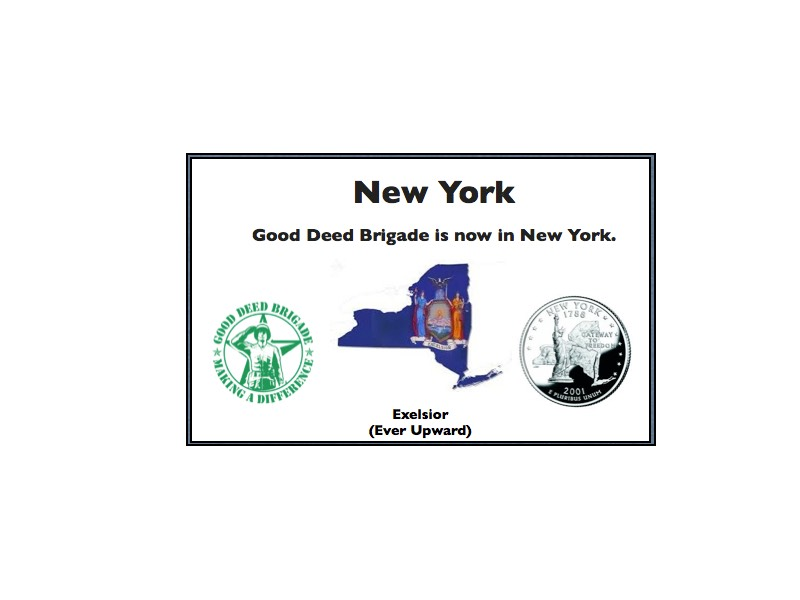 Good Deed Brigade State Postcard - New York