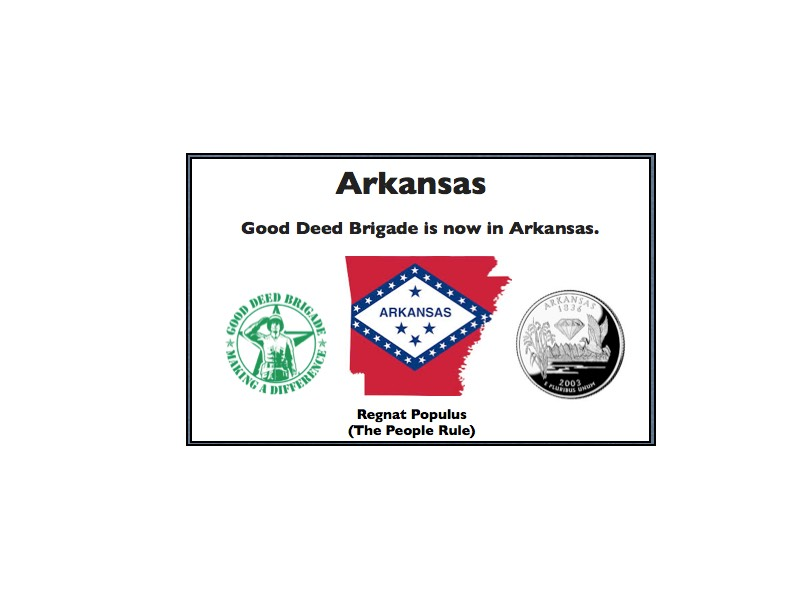 Good Deed Brigade State Postcard - Arkansas